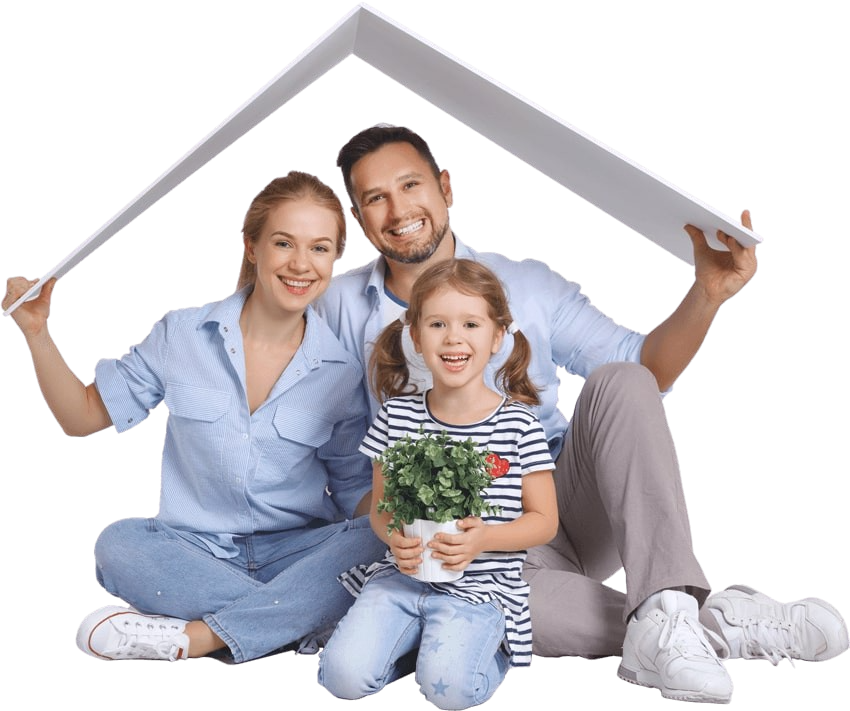 A smiling, happy family holding a roof over their head